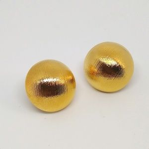 Brushed gold tone dome earrings